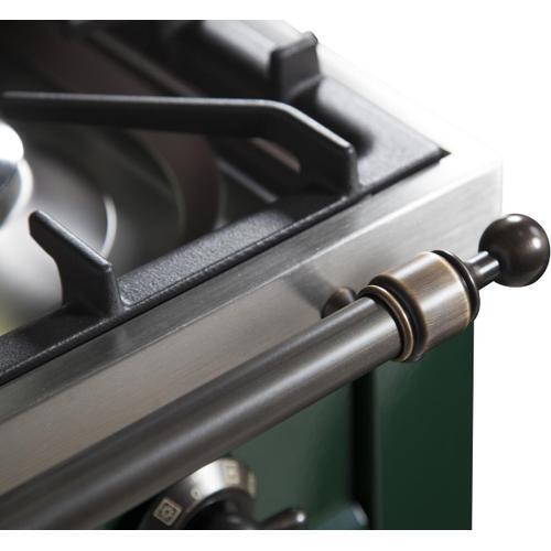 Nostalgie 36 Inch Dual Fuel Liquid Propane Freestanding Range in Emerald Green with Bronze Trim