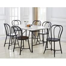 View Product - Claire 7 Piece Marble Top Dining(Table & 6 Side Chairs)