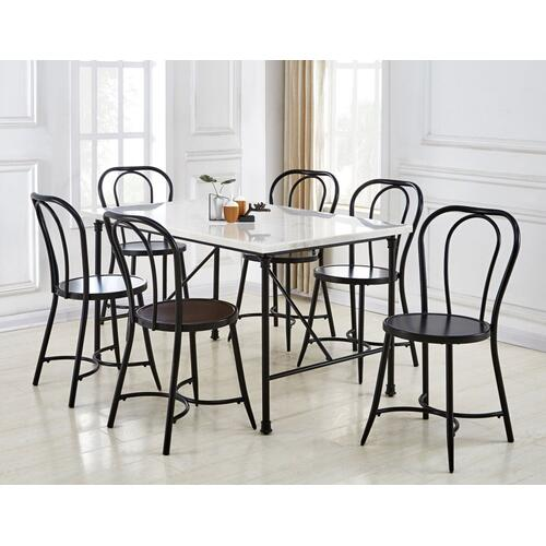 6562 In By Steve Silver Co In Carrollton Tx Claire 7 Piece Marble Top Dining Table 6 Side Chairs