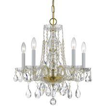 See Details - Traditional Crystal 5 Light Swarovski Strass Crystal Brass Mini Chandelier