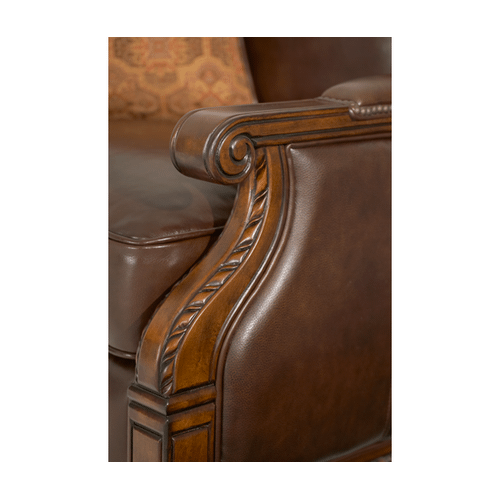 Wood Trim Leather/Fabric Club Chair - Opt1