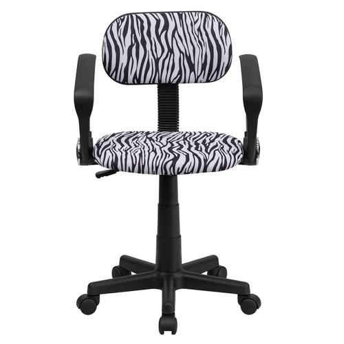 Gallery - Black and White Zebra Print Swivel Task Office Chair with Arms