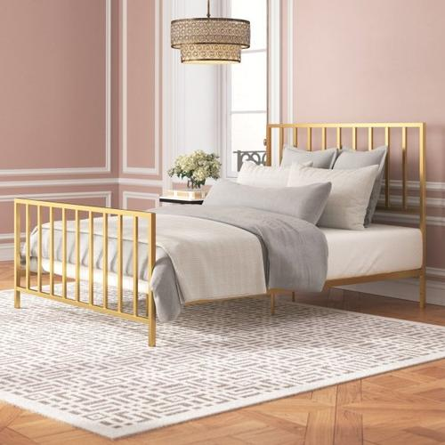 Accentrics Home - Slat Style Queen Metal Bed in Brushed Gold