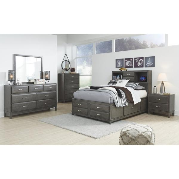 Full Storage Bed With 7 Storage Drawers With Mirrored Dresser