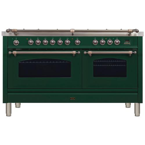 Product Image - Nostalgie 60 Inch Dual Fuel Natural Gas Freestanding Range in Emerald Green with Bronze Trim