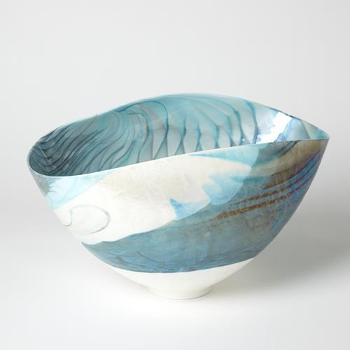 Ivory Turquoise Feather Swirl Oval Bowl-Lg