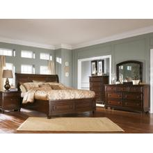 See Details - Queen Sleigh Bed With Mirrored Dresser and Nightstand