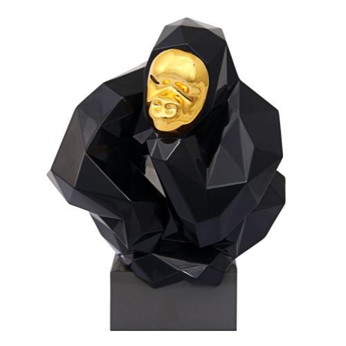 Tov Furniture - Pondering Ape Sculpture - Black and Gold
