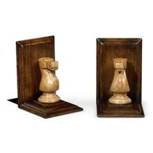 Pair of Knight Walnut Chess Piece Bookends