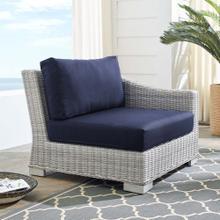 Conway Sunbrella® Outdoor Patio Wicker Rattan Right-Arm Chair in Light Gray Navy