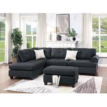 Nika 3pc Sectional Sofa Set, Black