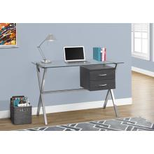 "COMPUTER DESK - 48""L / GREY / CHROME / TEMPERED GLASS"
