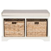 See Details - Freddy Wicker Storage Bench - Distressed White