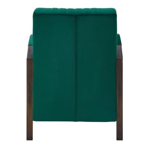 Bernard Velvet Fabric Accent Arm Chair Rubbed Gold Frame, Jade Green