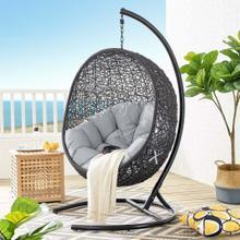 Encase Sunbrella® Swing Outdoor Patio Lounge Chair in Black Gray