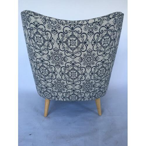 Crestview Collections - Huntington Upholstered Blue Pattern Shaped Back Arm Chair