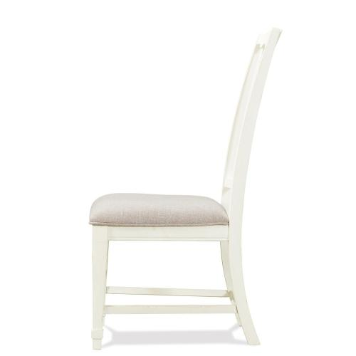 Grand Haven - Slat Back Upholstered Side Chair - Feathered White Finish