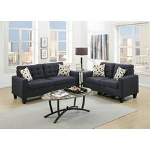 Fabiano 2pc Loveseat & Sofa Set, Black