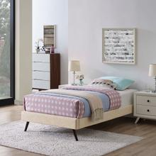 View Product - Loryn Twin Fabric Bed Frame with Round Splayed Legs in Beige