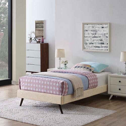 Modway - Loryn Twin Fabric Bed Frame with Round Splayed Legs in Beige