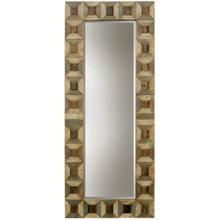 Homocentric  Hand Painted Natural Wood Assembled Framed Leaver Floor Mirror with Clear Beveled Glas