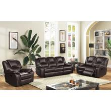 8085 DARK BROWN 3PC Manual Recliner Air Leather Living Room SET