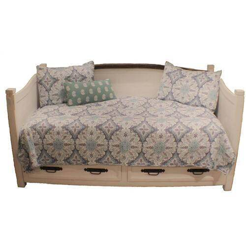 White Curved Top Daybed W/2 Drawers
