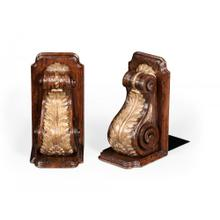 Pair of bookends gilded bracket design