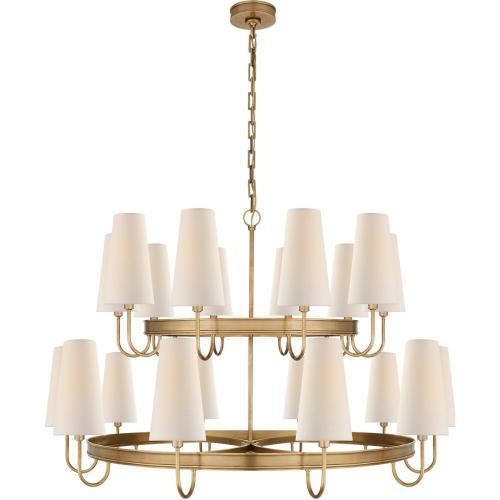Visual Comfort CHC1620AB-L E. F. Chapman Venini 20 Light 46 inch Antique-Burnished Brass Chandelier Ceiling Light, Large