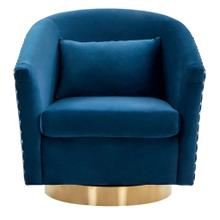 Clara Quilted Swivel Tub Chair - Navy