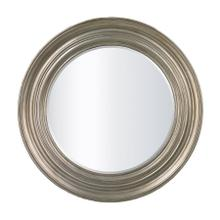 ROUND MIRROR IN ANTIQUE SILVER LEAF