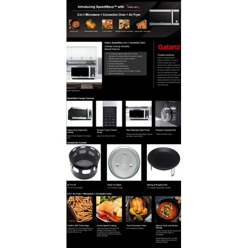 """Galanz 1.2 Cu Ft SpeedWave"""", 3-in-1 Air Fryer, Convection Oven and Microwave with Combi Speed Cooking Feature, Sensor Cook, Inverter, TotalFry 360"""" Technology True Convection in Stainless Steel"""