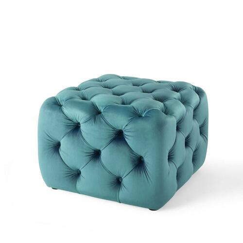 Amour Tufted Button Square Performance Velvet Ottoman in Sea Blue