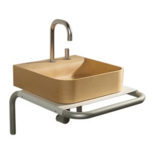 Aeri small, single shelf wall mount aluminum structure with integral towel bar. Product Image
