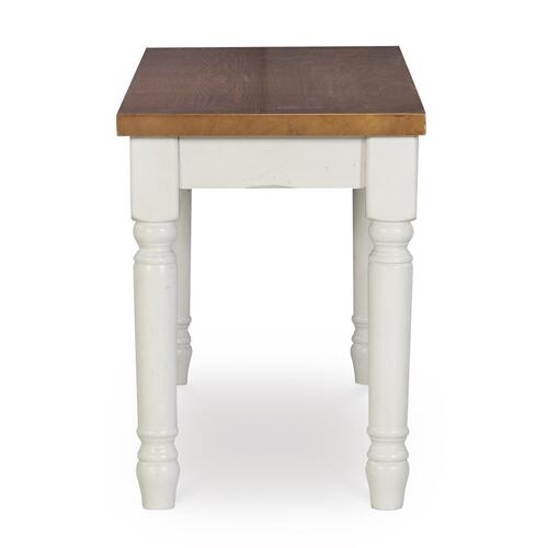 Wood Top and Turned Legs Bench, Vanilla White and Honey Brown