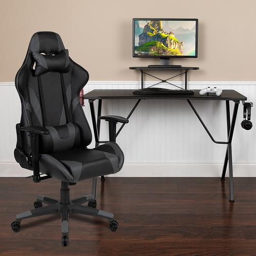 Gallery - Black Gaming Desk and Gray Reclining Gaming Chair Set with Cup Holder, Headphone Hook, and Monitor\/Smartphone Stand