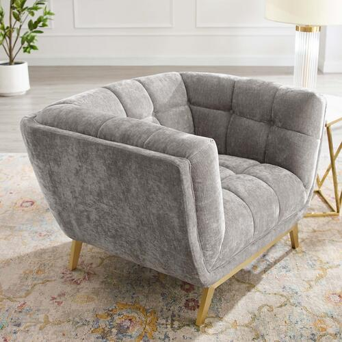 Bestow Crushed Performance Velvet Armchair in Light Gray
