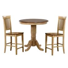 "DLU-BR3636CB-B70-PW3PC  3 Piece 36"" Round Pub Table Set with Fancy Slat Stools"