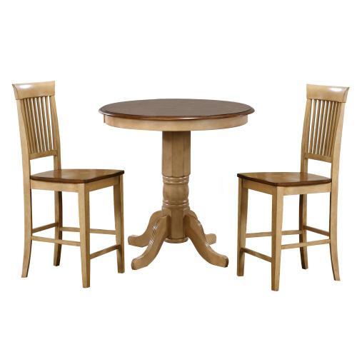 Brook Round Pub Table Set w/Fancy Slat Stools (3 piece)