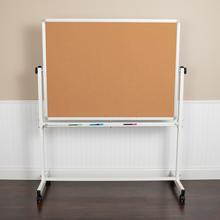 """See Details - HERCULES Series 53""""W x 62.5""""H Reversible Mobile Cork Bulletin Board and White Board with Pen Tray"""