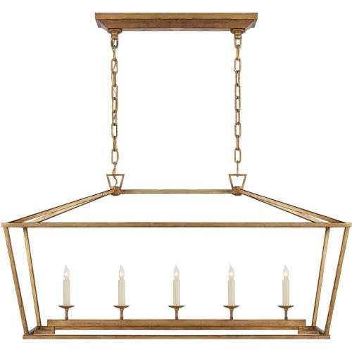 Visual Comfort CHC2156GI E. F. Chapman Darlana 5 Light 41 inch Gilded Iron Linear Lantern Ceiling Light