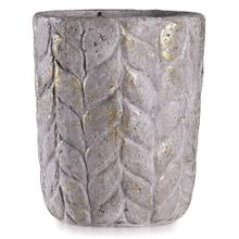 See Details - ALCAMN GREY  12in w X 14in ht X 12in d  Leaf Textured Artative Eco Paper Pot