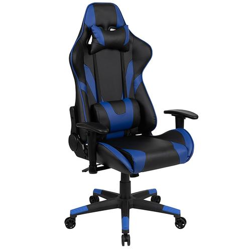 Gallery - Black Gaming Desk and Blue\/Black Reclining Gaming Chair Set with Cup Holder, Headphone Hook & 2 Wire Management Holes