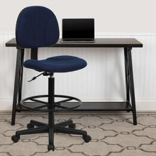 View Product - Navy Blue Patterned Fabric Drafting Chair (Cylinders: 22.5''-27''H or 26''-30.5''H)