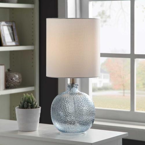 Style Craft - Mini Spanish Glass Ball Lamp in Cerulean Finish White Drum Fabric Shade