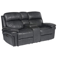 See Details - Luxe Leather Power Reclining Loveseat with Articulating Headrest & Console
