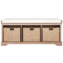 See Details - Lonan Wicker Storage Bench - Grey Wash / White