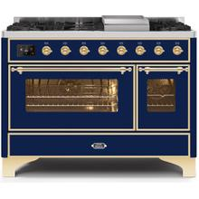 Majestic II 48 Inch Dual Fuel Natural Gas Freestanding Range in Blue with Brass Trim