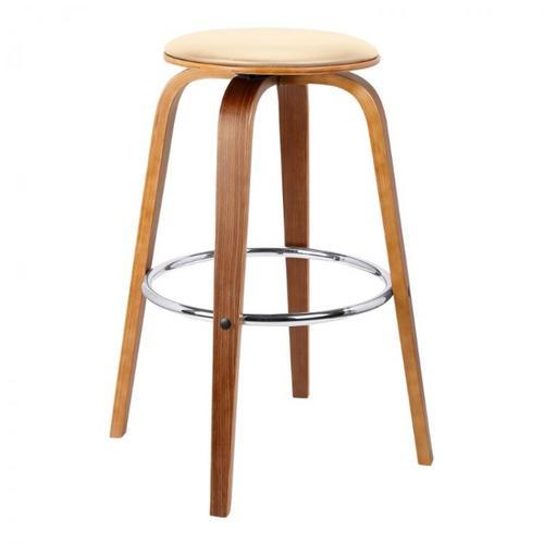 """Armen Living - Armen Living Harbor 26"""" Mid-Century Swivel Counter Height Backless Barstool in Cream Faux Leather with Walnut Veneer"""