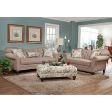 Metropolitan Dark Beige Fabric Upholstery Wood Frame Sofa with Loveseat and Pillows